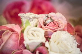 wedding rings in bouquet