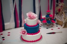 pink and blue wedding cake