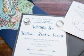 wedding rings and invitation