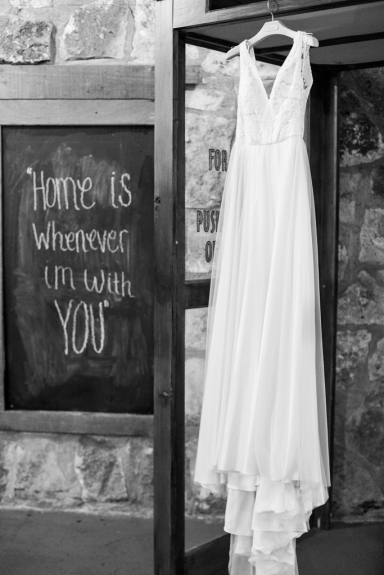 sign and wedding dress