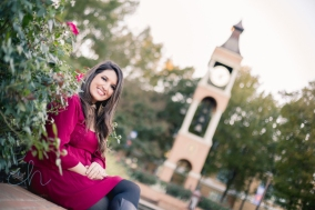 girl and college clock tower