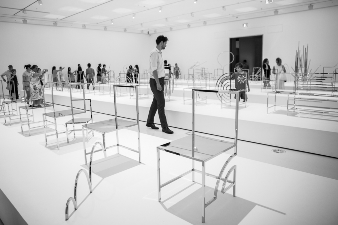 room full of silver chairs