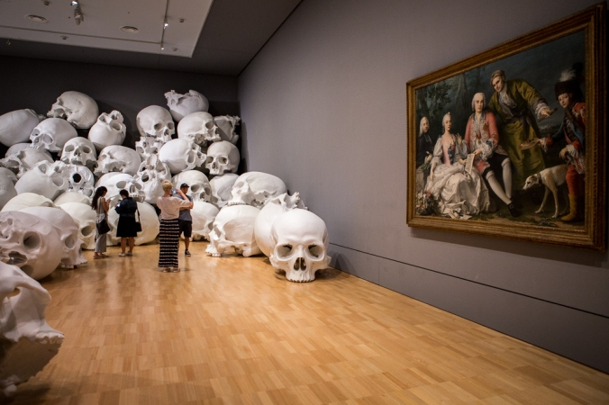 pile of skulls by old art
