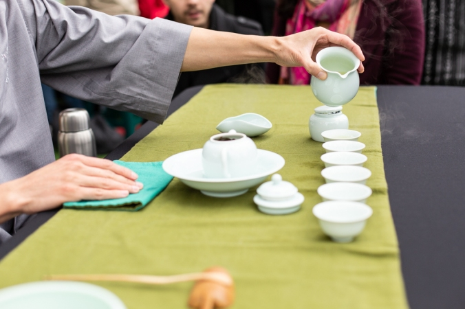 taiwanese tea ceremony at buddha festival