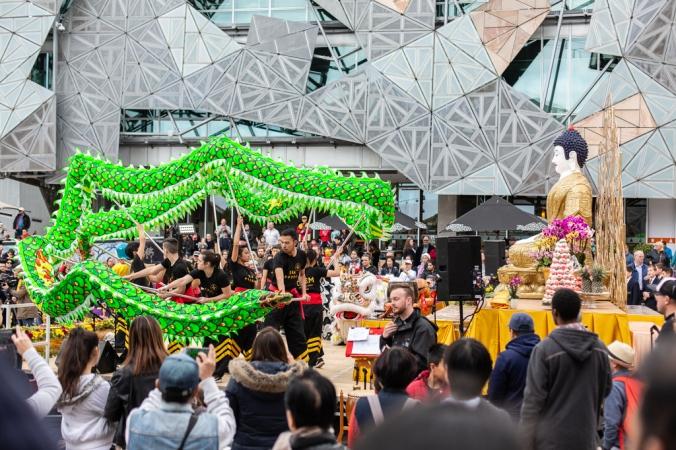 dragon and buddha at federation square