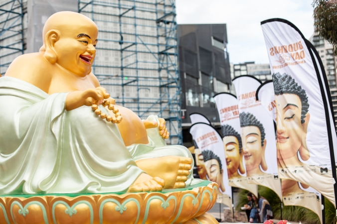 buddha statue and sign at federation square