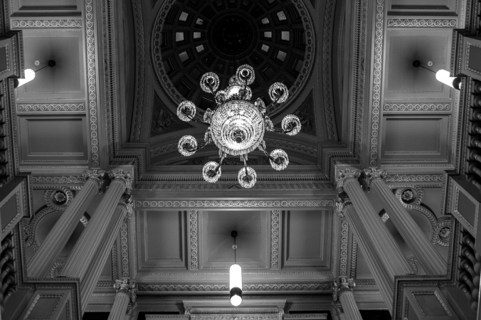 ceiling and chandelier in library