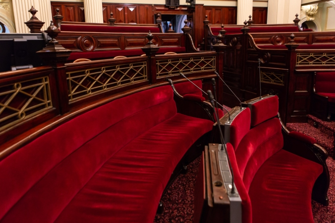 red benches of parliament