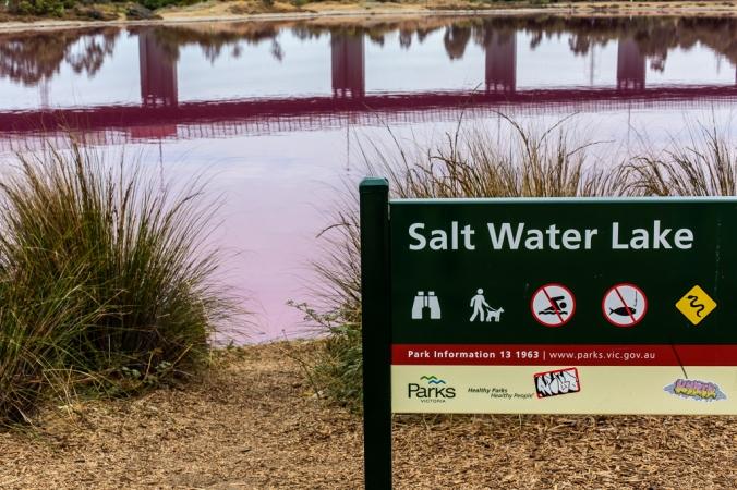 salt water lake sign